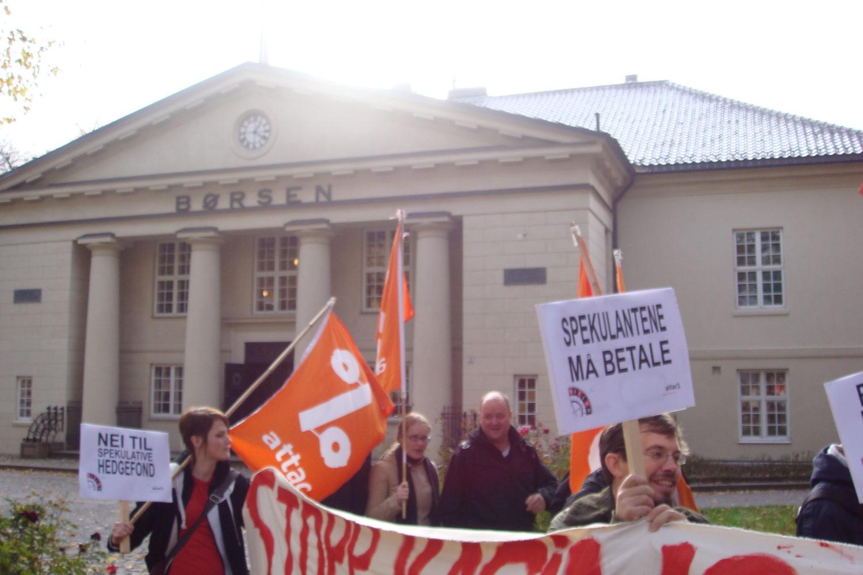 Attac foran Børsen 15. oktober 2008