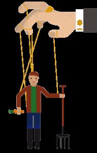 Illustrasjon: En bonde henger som en tråddukke under en hånd. Hånden har en mansjettknapp utformet som dollartegn.