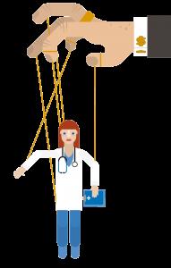 En sykepleier henger som en tråddukke under en hånd. Hånden har mansjettknapp med dollartegn
