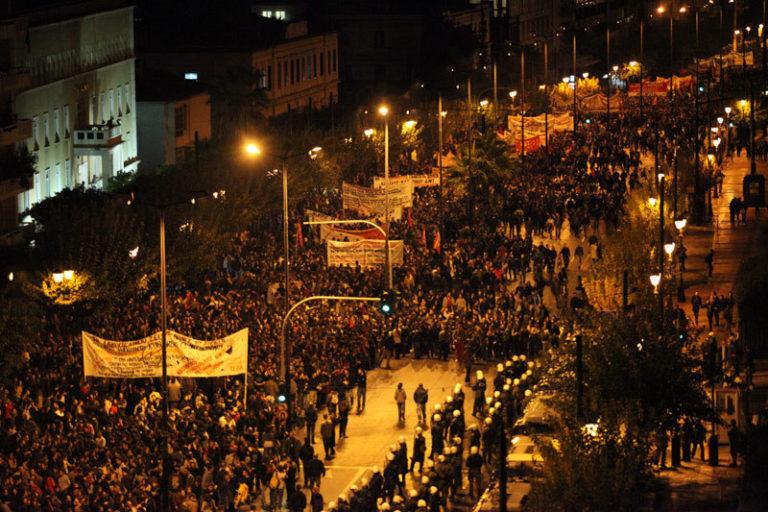 Demonstrasjon mot innstrammingspolitikk i Hellas. Foto: occupiedlondon.org