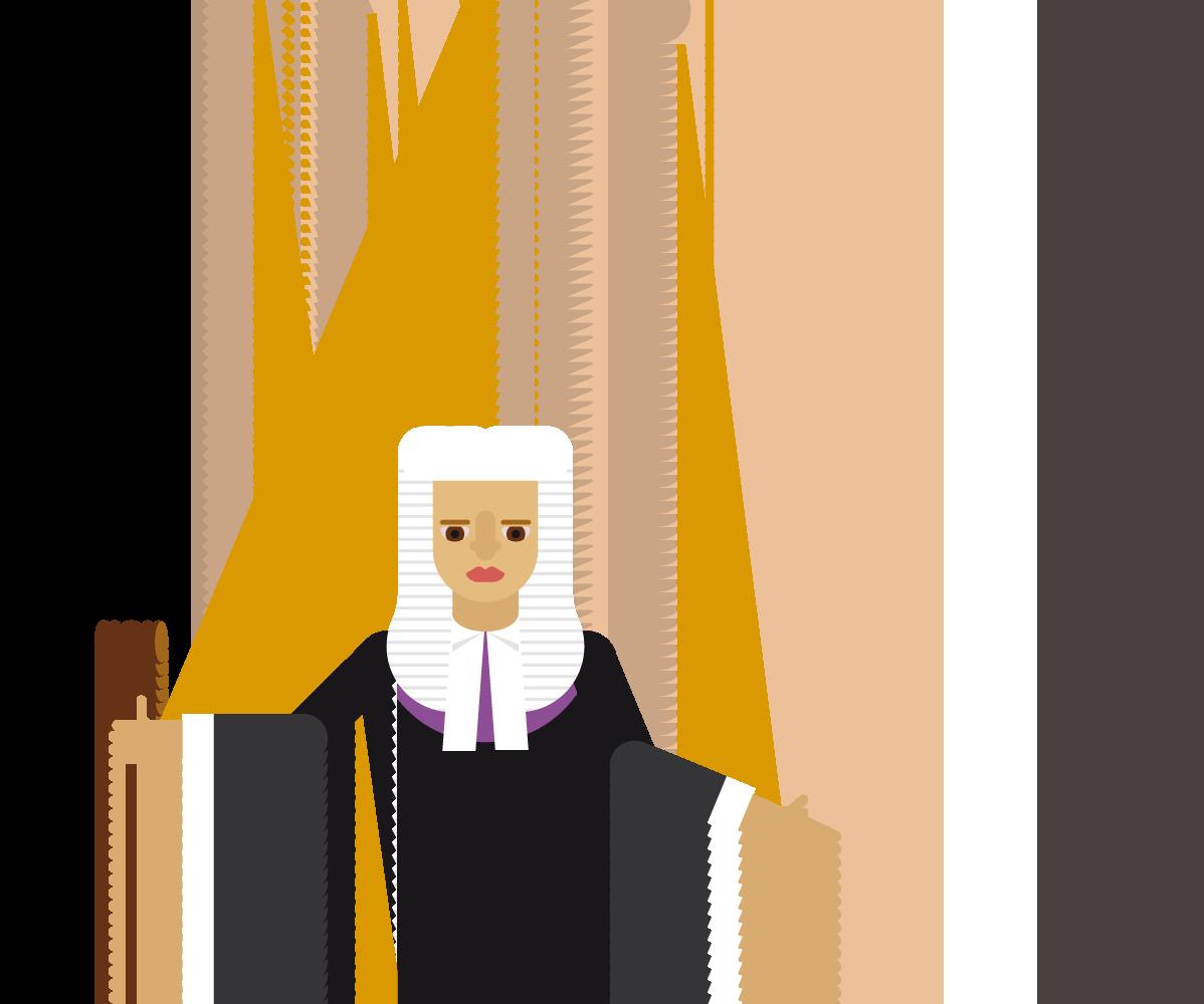 En dommer henger som en tråddukke under hånd. Hånden har mansjettknapp som ser ut som et dollartegn.