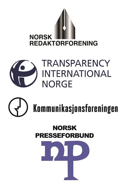 Logoer: Norsk redaktørforening, Transparency International Norge, Kommunikasjonsforeningen, Norsk Presseforbund