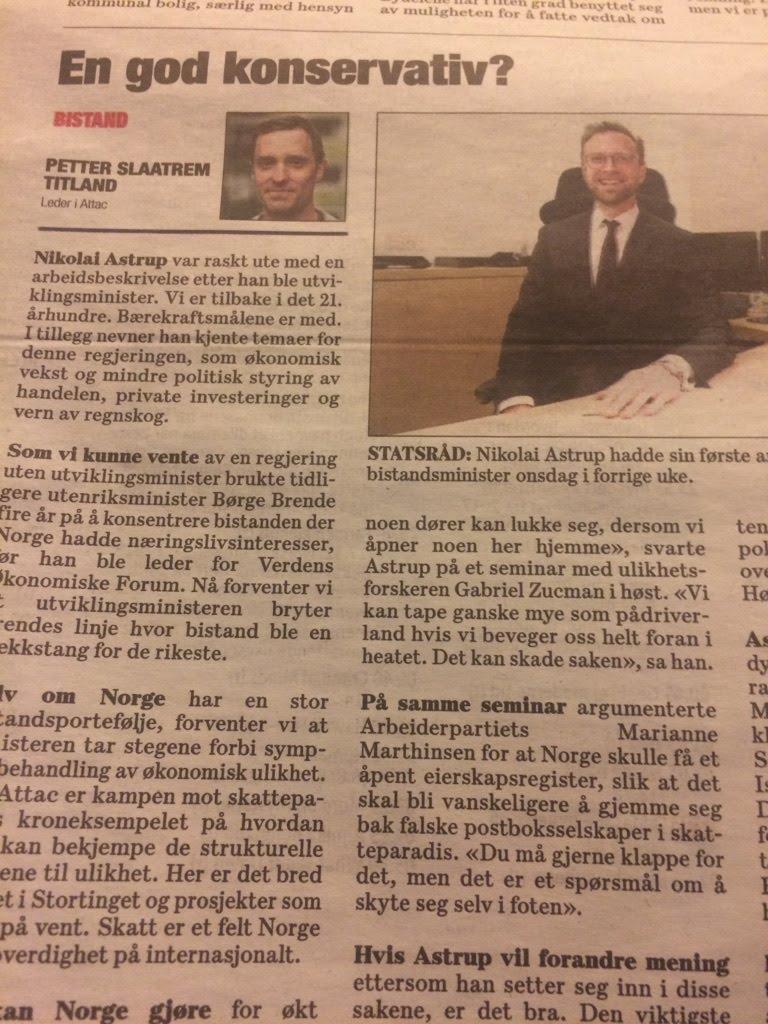 Faksimile innlegg i Dagsavisen