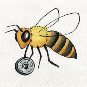 Bie som flyt en mynt tilbake til bikuben