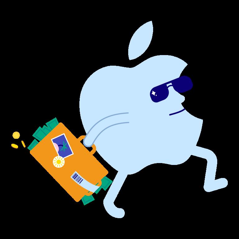 Illustrasjon: En Apple-logo har en koffert full av penger