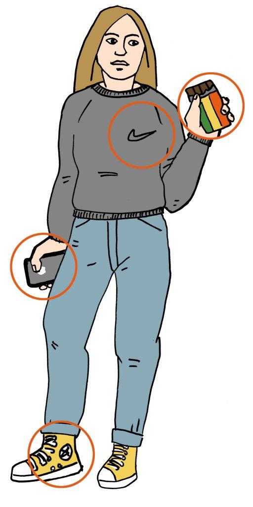Person som holder sjokolade (KvikkLunsj) og mobiltelefon (Apple). Telefonen og sjokoladen er uthevet, det er også Nike-logo på brystet og Converse-merket på skoene