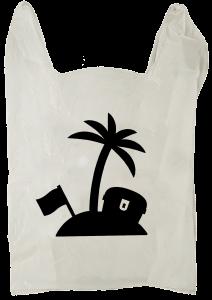 Illustrasjon, rapportforside: Handlepose med skatteparadis på.