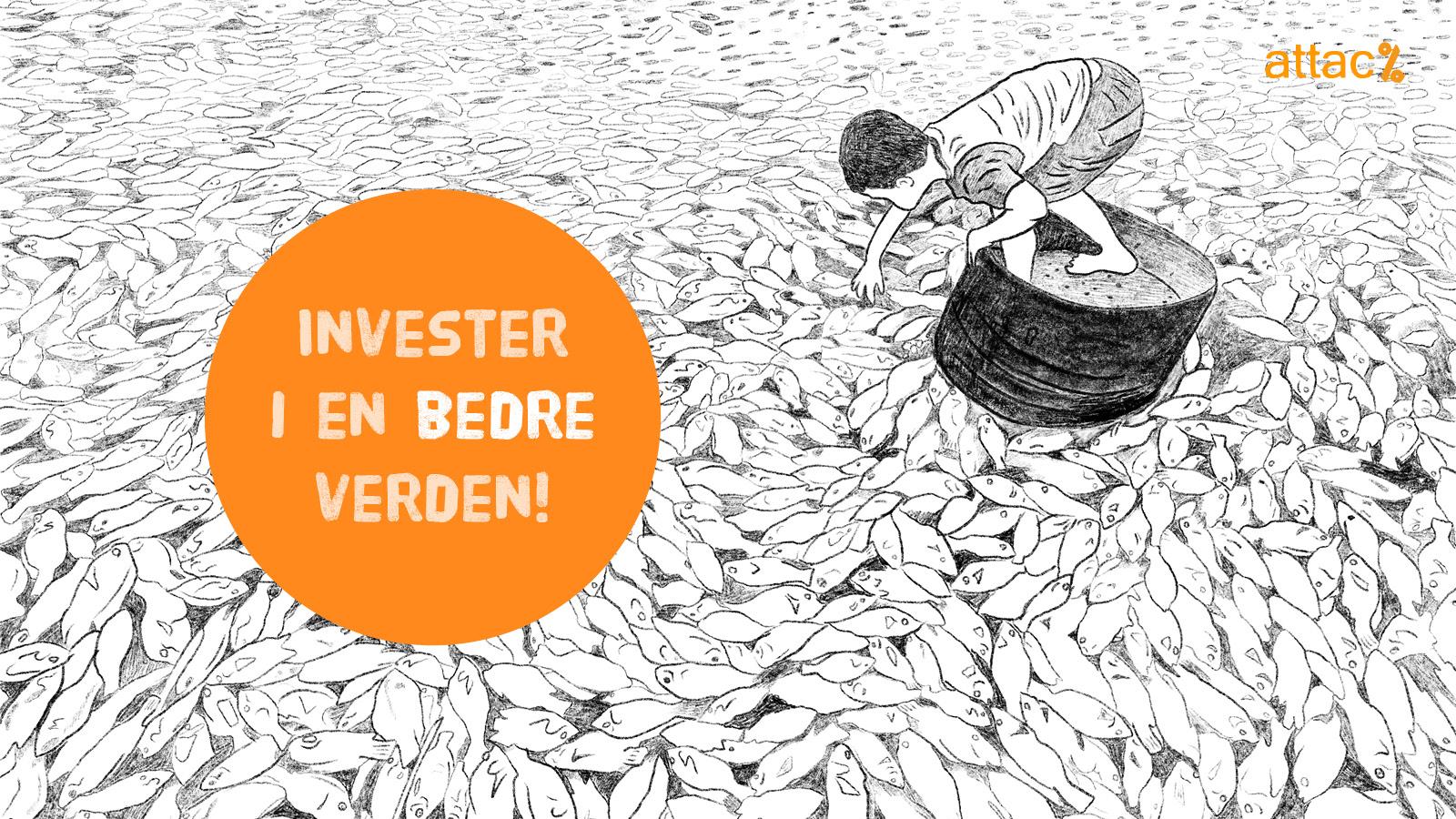 Logo: Invester i en bedre verden | Tegning: gutt som plukker døde fisker fra vannet