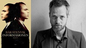"""Bilde av Bår Stenvik og av forsiden av boka """"Informasjonen"""""""