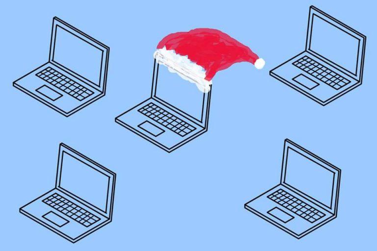 Illustrasjon: Datamaskiner der en har nisselue på