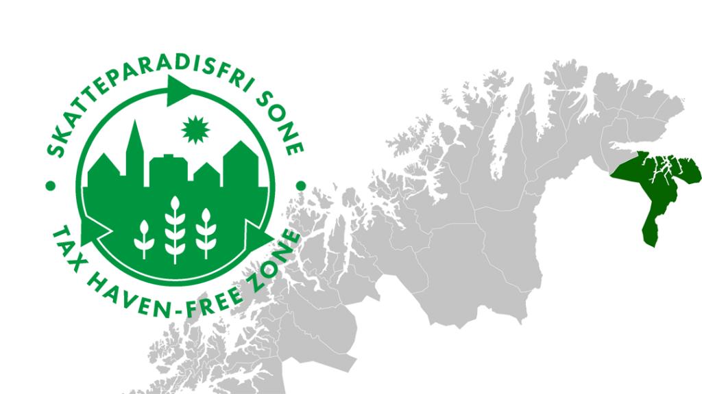 Kart som viser Sør-Varanger kommune og logo for Skatteparadisfri sone