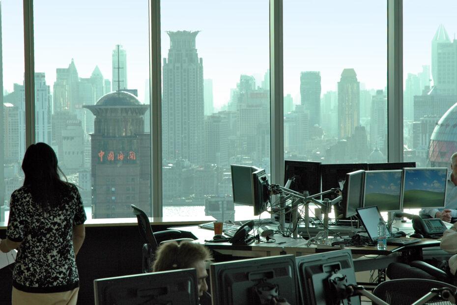 Utsikt fra Oljefondets kontor i Shanghai
