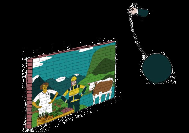 Illustrasjon: Arbeidere, natur og landbruk er en mur som blir knust av en kule.