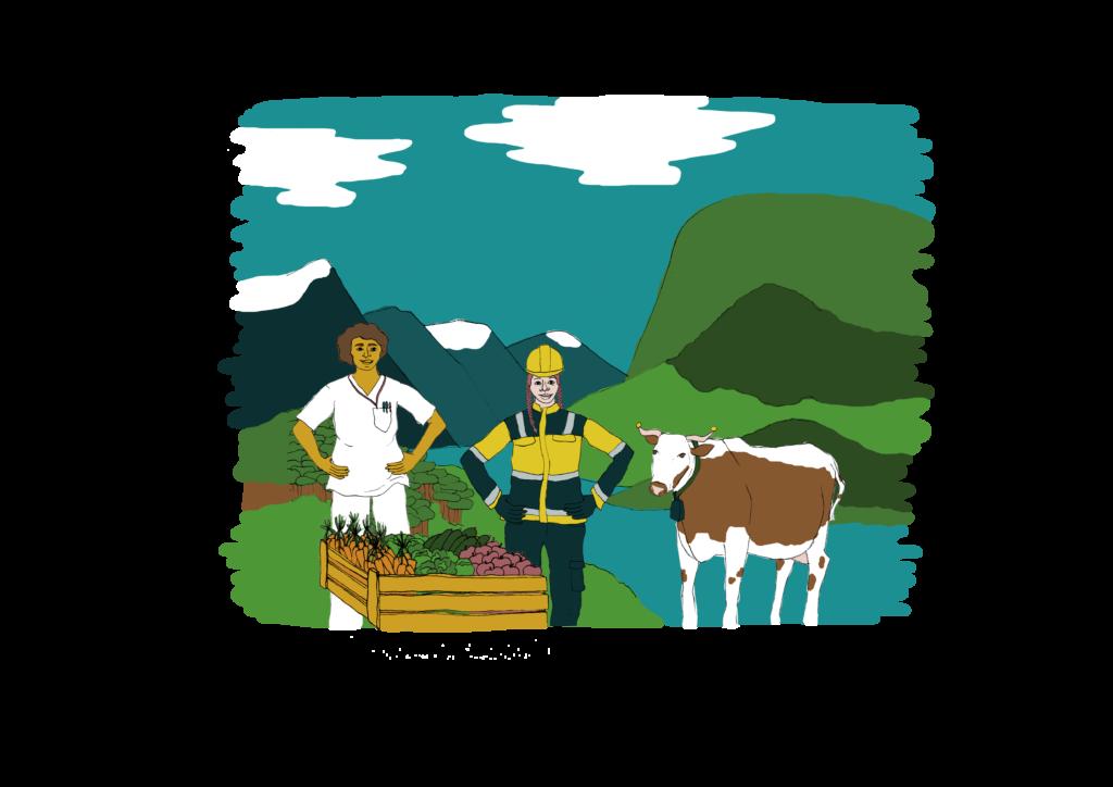 Illustrasjon: Arbeidere, natur og landbruk står i fred.